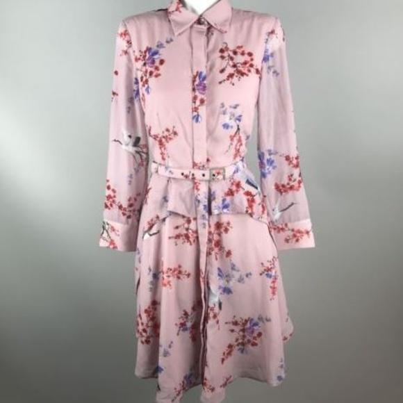 eshakti Dresses   Skirts - eShakti Pink Floral Beaded Shirt Dress Belted M 4a662be5121